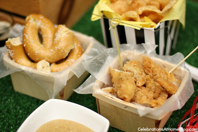 game day snacks - soft pretzels & chicken fingers