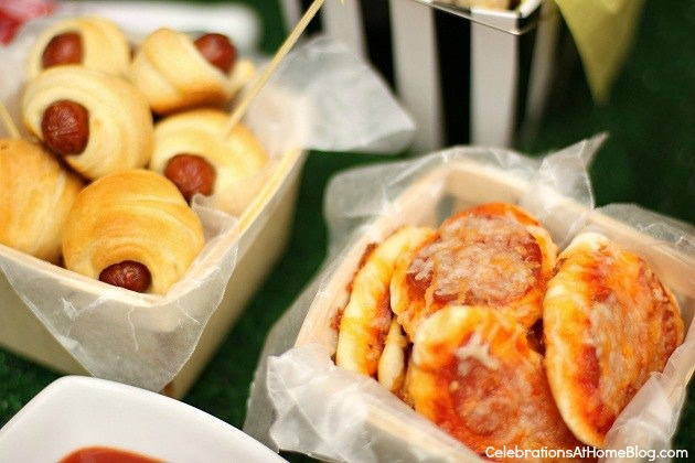 mini pizzas & pigs in a blanket