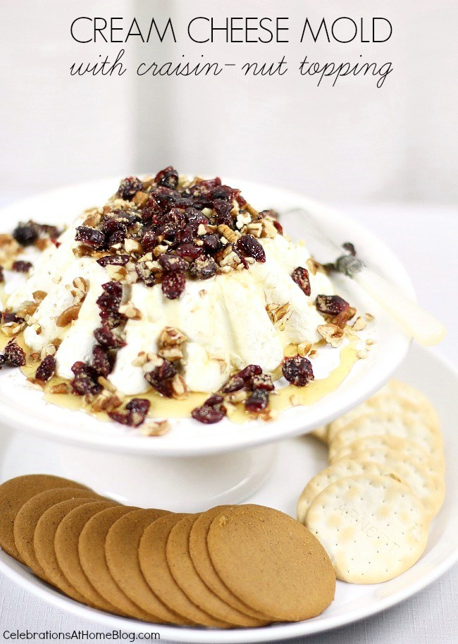 this cream cheese mold with raisin-nut topping makes a beautiful presentation and tastes delicious