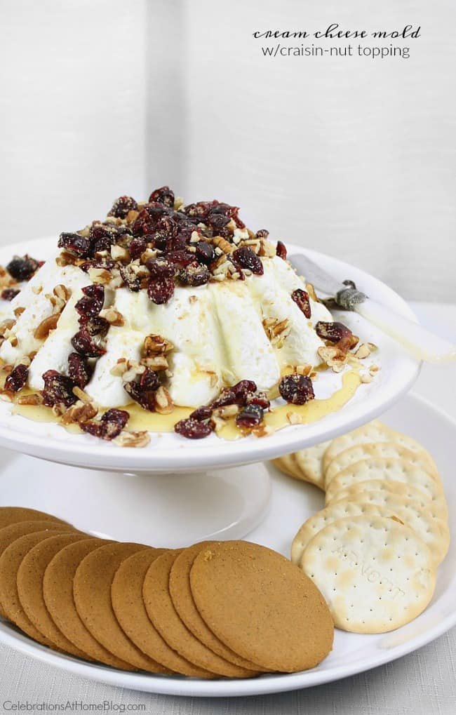 cream cheese recipes: cream cheese mold with craisin nut topping. cream cheese appetizer spread.