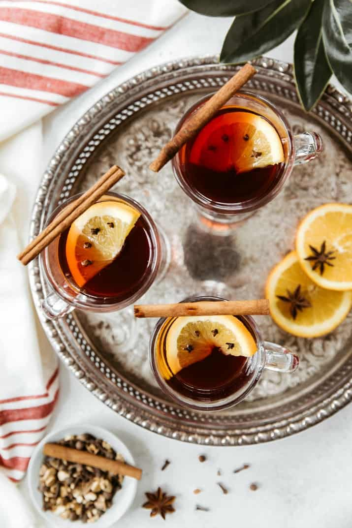 spiced wine cocktails on silver tray