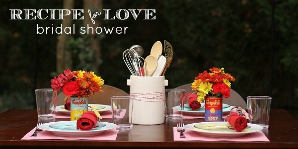 "retro style ""recipe for love"" bridal shower"