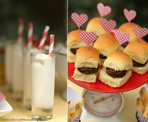 You'll love this retro kitchen themed bridal shower with it's bright colors and mini food cart; mini milk shakes and sliders
