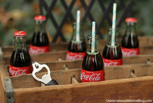You'll love this retro kitchen themed bridal shower with it's bright colors and mini food cart. classic soda bottles in vintage crate