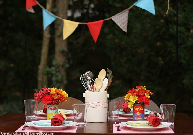 You'll love this retro kitchen themed bridal shower with it's bright colors and mini food cart.