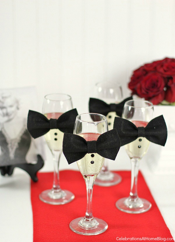 Awards Night Viewing party - champagne flutes with bow ties & buttons