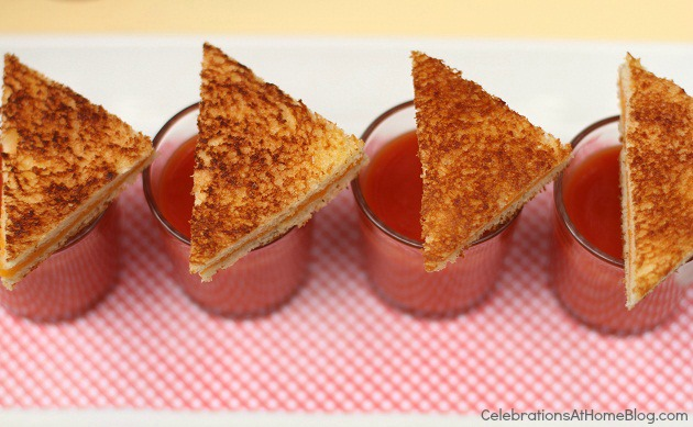 grilled cheese triangles over tomato soup shots