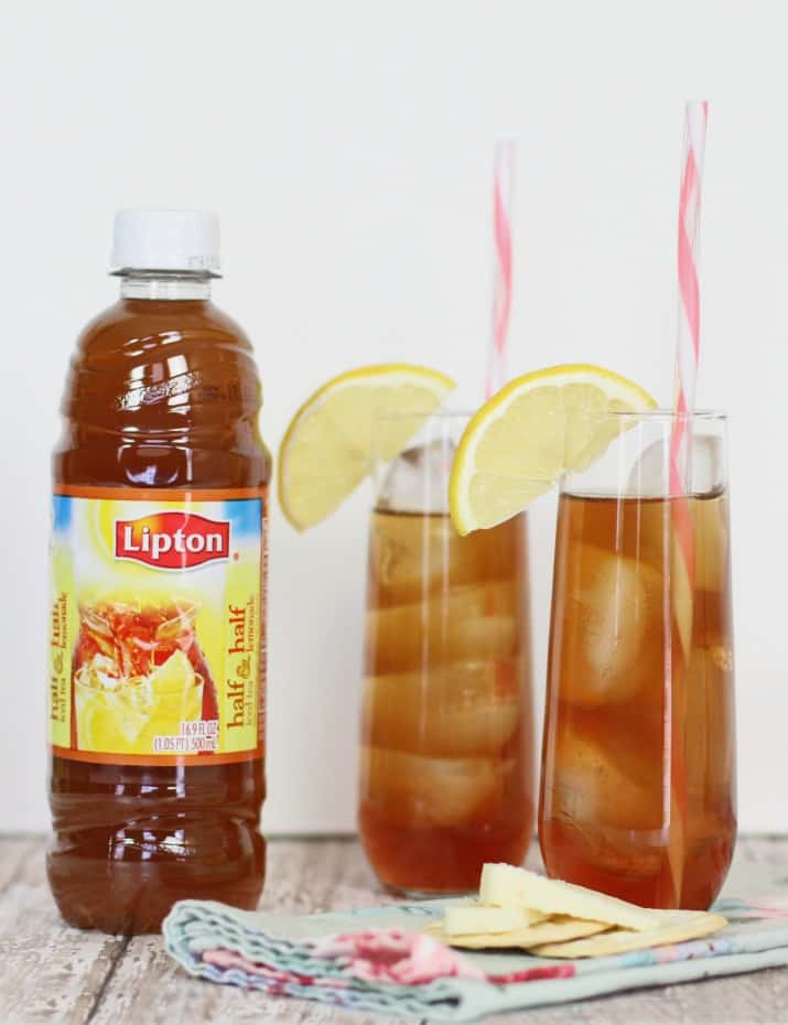 two Lipton southern style iced tea cocktail glasses