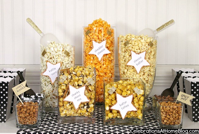 a Popcorn Bar for awards viewing or movies parties, childrens parties, or sports themed parties.