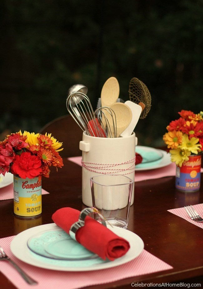 This retro kitchen themed bridal shower is full of inspiration and ideas for decor, food, etc.