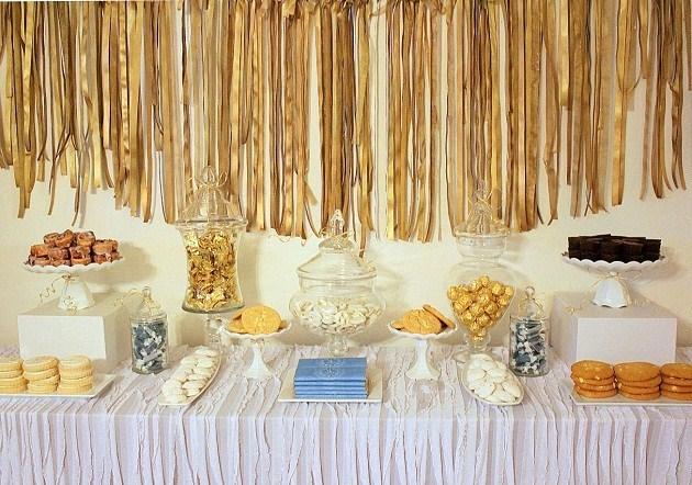 gold glam dessert table