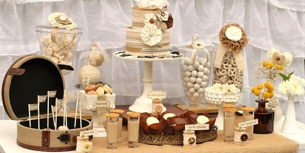 Shabby Chic Bridal Shower – Dessert Table