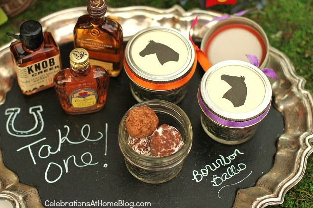 bourbon themed party favors - Kentucky Derby party - bourbon tasting bar