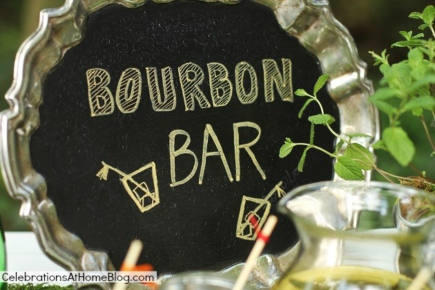 chalkboard silver tray sign - bourbon tasting bar