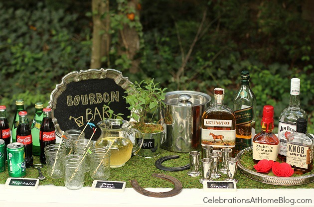 Kentucky Derby party idea - bourbon tasting bar