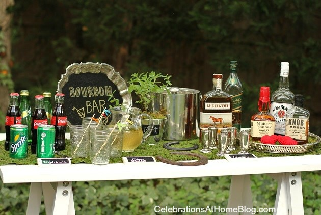 setting up a bourbon bar