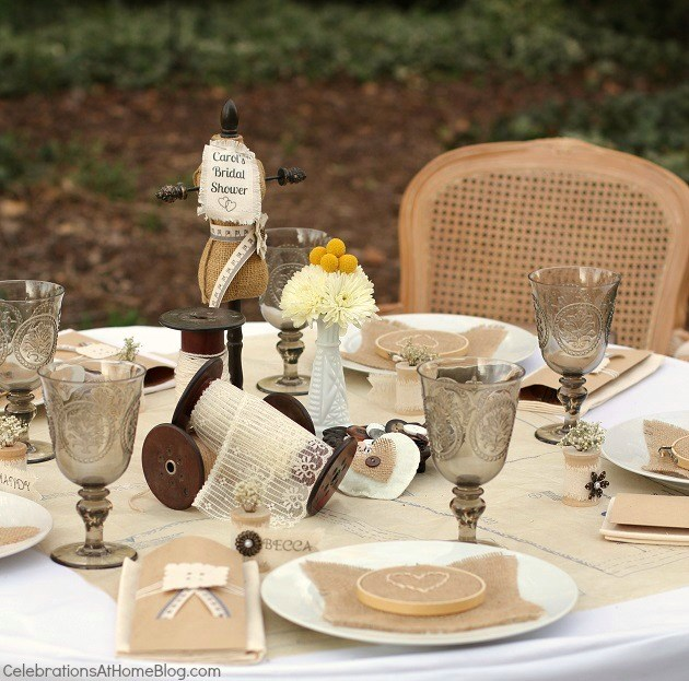 shabby chic-vintage inspired table setting for a bridal shower