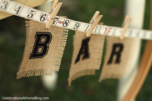 bar sign banner - shabby chic bridal shower