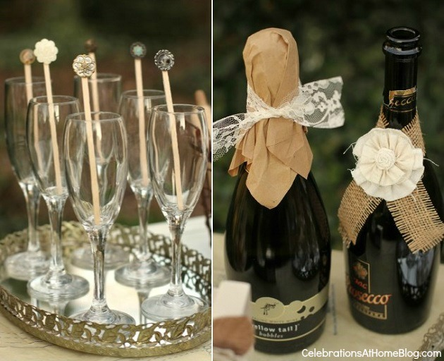 dressed up champagne bottles - shabby chic bridal shower