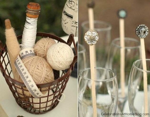 button drink stirrers - shabby chic bridal shower