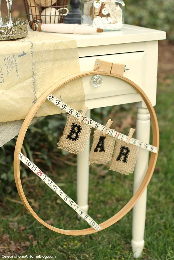 hoop bar sign - shabby chic bridal shower