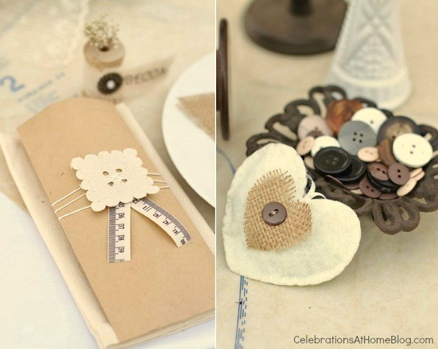 wrapped utensil bag and button details