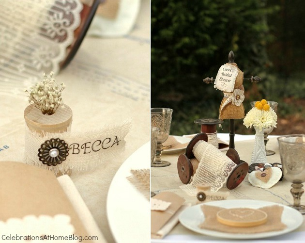 shabby chic place card made of spools & canvas ribbon