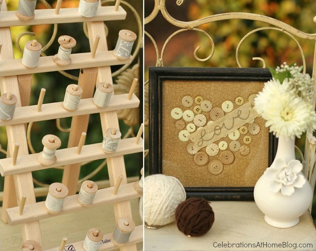 pick-a-spool activity - shabby chic bridal shower