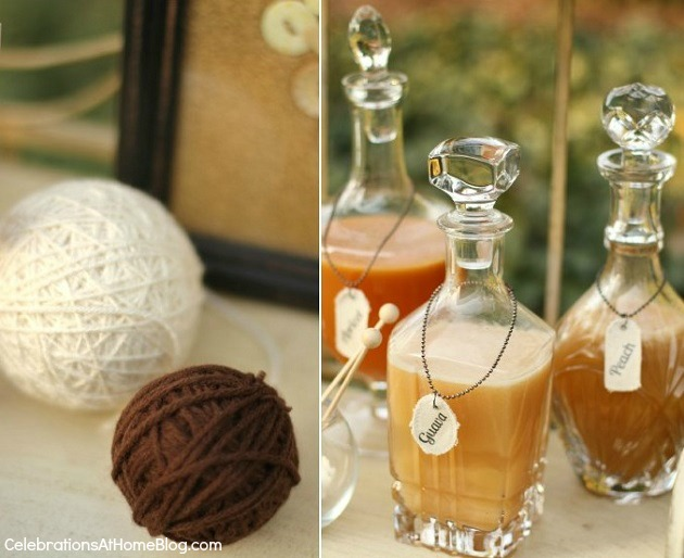 juice bottles - shabby chic bridal shower