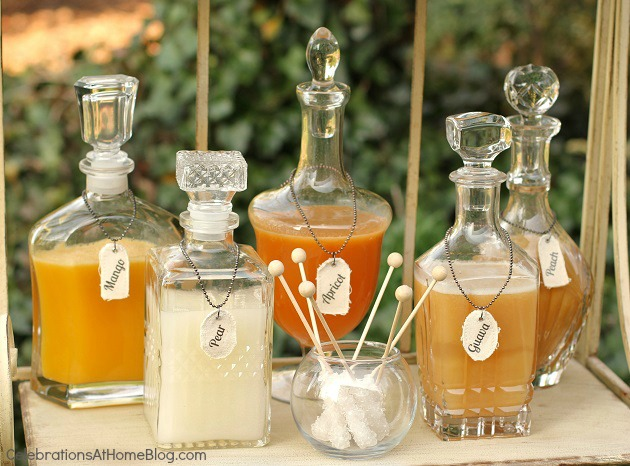 champagne juice mixers in pretty decanters - shabby chic bridal shower