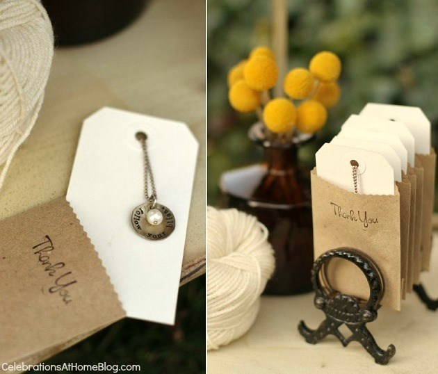 necklace favors - shabby chic bridal shower