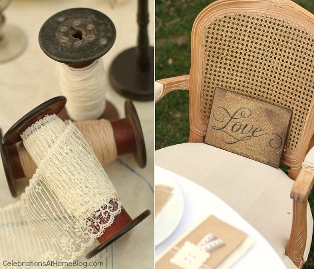 large spools - shabby chic bridal shower