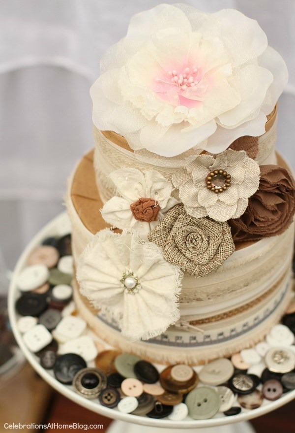 "ribbon & trim ""cake"" - shabby chic dessert table - bridal shower theme"
