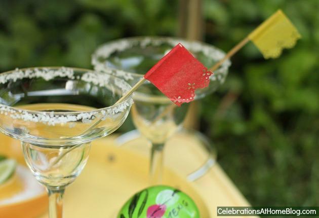 mini papel picado drink flags - cinco de mayo ideas