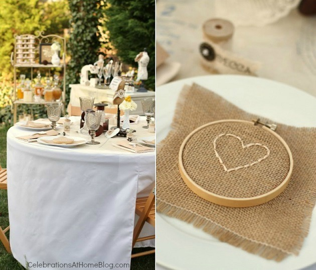 hearts sewn on burlap - shabby chic bridal shower