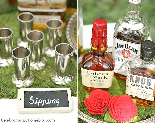 set up a bourbon tasting bar for the Kentucky derby. Here are loads of stylish and fun ideas.