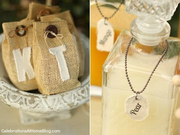 burlap favor bags with canvas monogram - shabby chic bridal shower