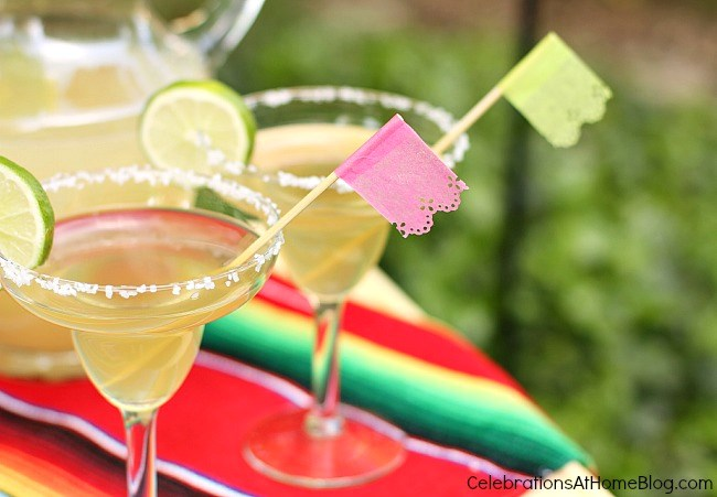 make papel picado drink sticks for cinco de mayo margaritas. Get more party ideas here...