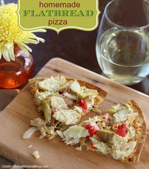 Mediterranean style flatbread pizza