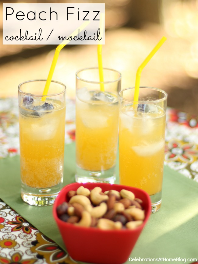 Make this peach fizz drink into a cocktail or a mocktail and let everyone enjoy the flavors of summer.