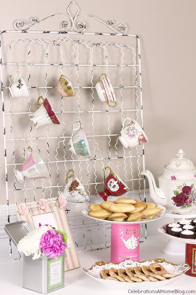 Great ideas for Mother's Day or any girls gathering, these tea party bridal shower ideas will inspire you to host your own ladylike event. Display your tea cups so everyone can choose her own pattern to drink from.