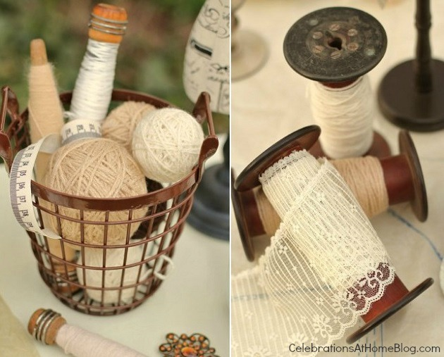 wrapped foam balls and vintage spools
