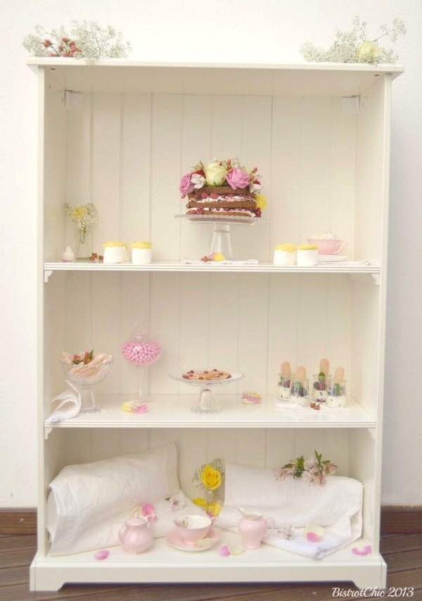 tea party book shelf setting