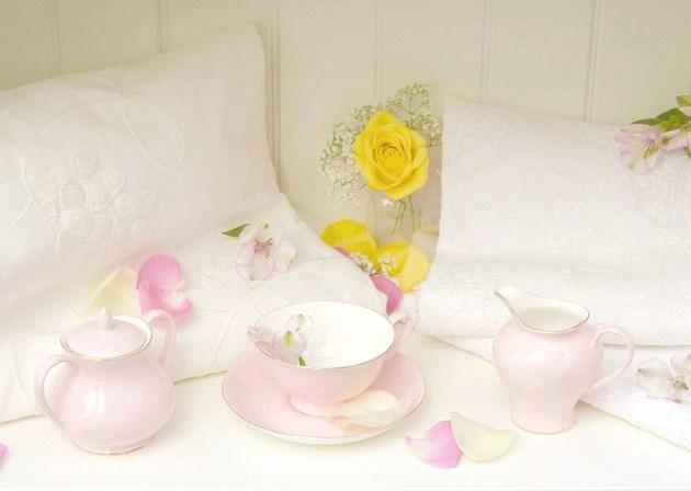 tea party book shelf setting