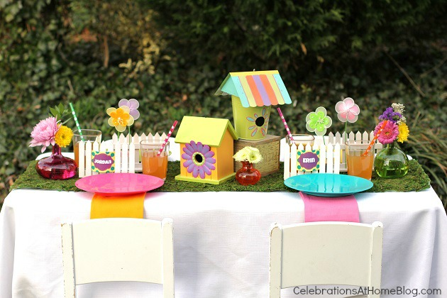 kids garden party table