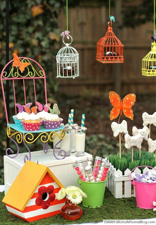 Whimsical kids garden party ideas - dessert display