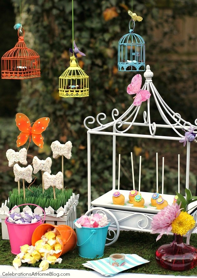 Whimsical kids garden party ideas - dessert food display