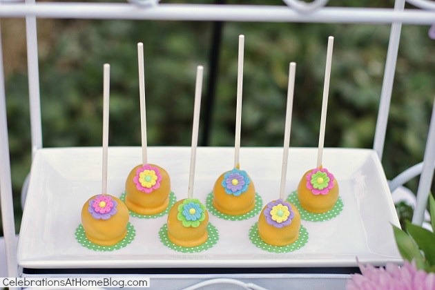 kids garden party brownie pops
