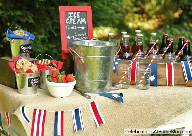 ice cream bar decorated for July 4th