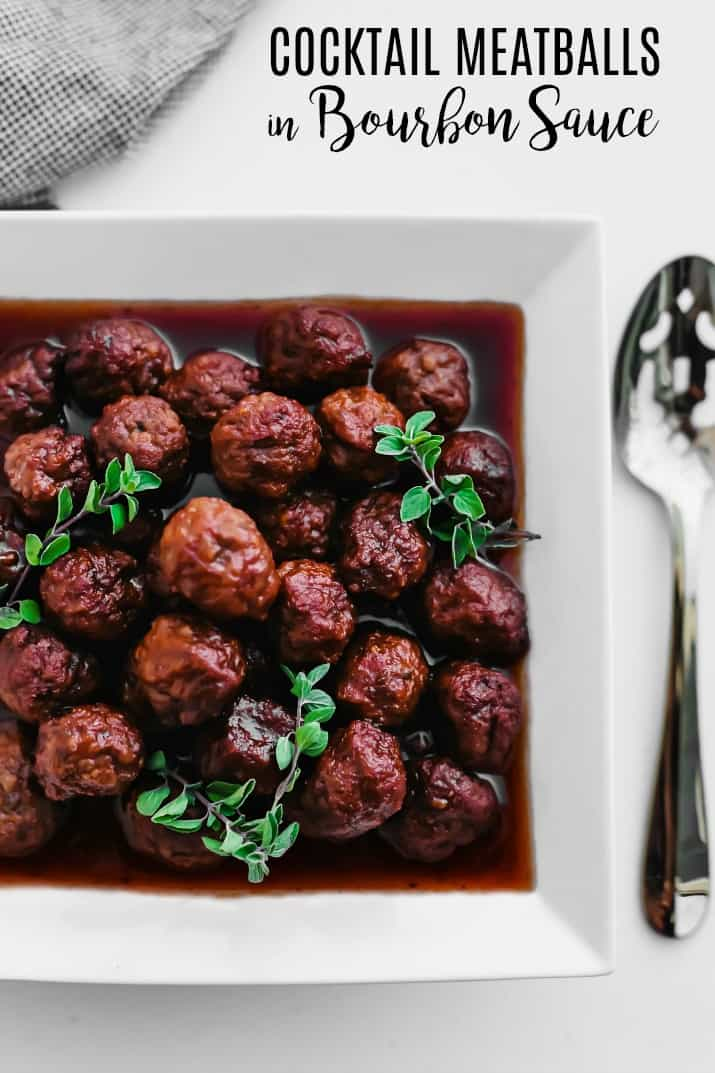 bourbon meatballs recipe overhead with text